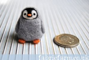 MINIATURE NEEDLE FELTED BABY PENGUIN by fabricfarm