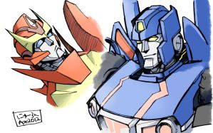 Skids and Rodimus by n-e-w-r-o-n