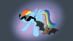 Rainbow Dash and bat by kas92