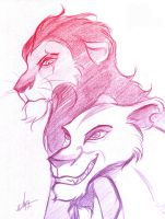 Scar and Zira - Sketch by Feena-Freya
