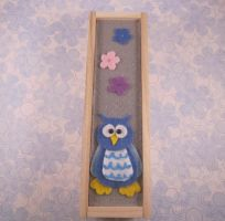 Wood Pencil Box with Felt Owl by AmiTownCreatures