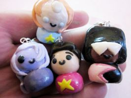 Steven Universe Crystal Gem Polymer Clay Charms by PorcelainGhosts