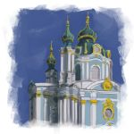 Ukrainian church of Kiev, Ukraine - Study painting by duduOmag