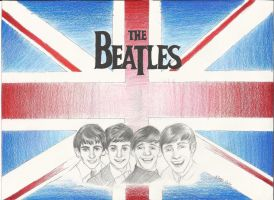 The Beatles with the British Flag by ElvenWarrior14