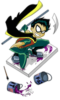Robin iso cell playing with paint by Scintillant-H