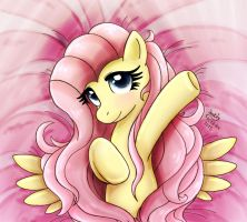 MLP FIM - Fluttershy The Sweet Flower In Bed by Joakaha