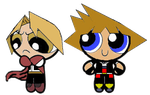 Powerpuff Girl versions of Edward and Sora by 4xEyes1987