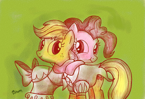 Applejack And Pinkie Hug by Tobal13