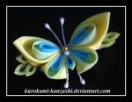 Yellow Butterfly Clip by Kurokami-Kanzashi