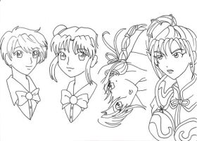 Stock - FY Bookmark girls by DaTenshiOni