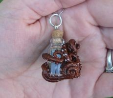 Octopus Jewelry - Octopus Bottle Pendant Back by CaterpillarArts