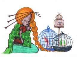 The girl and the birds in cage by Gebefreniya
