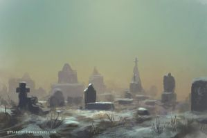 Cemetary in Winter by jjpeabody