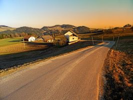 Country road into evening scenery by patrickjobst