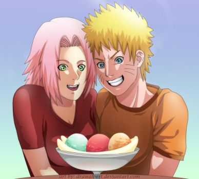 Ice cream, Sakura, and Naruto. by drawAlbert