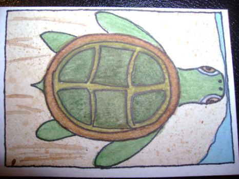 Turtle ATC by tiniestowl