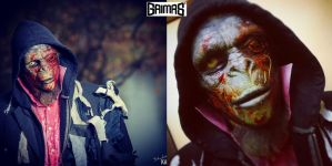 Zombie-ape and makeup: Ari Savonen. by NSFF