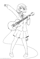 Lineart: K-ON: Jamming with Giita by Artifedex