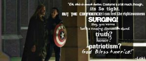 Thor and Loki (As Captain America) Quote Facebook by AWishInTheNight