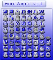 white and blue icon set 1 by xylomon