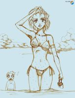 Hot Bikini Girl Sketch by AlexKnight