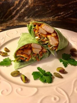 Asian Chicken Spinach Wrap with Thai Peanut Sauce by MichaelWKellarINKS
