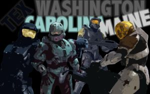 RvB Freelancers Tex, Wash, Carolina, and Maine by DanTherrien101