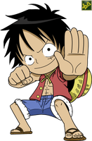 Chibi Luffy Lineart Colored by bryanaldrin