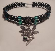 Leather Macrame Fairy Choker by Psy-Sub