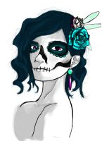 Skull and Flowers Cool by MachineRule