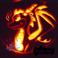 Spyro Pumpkin Lights on by RabiesGirl