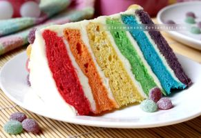 Rainbow Cake Slice by claremanson