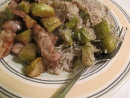 Pork, Shallots, Rice, Olives, and Chayote Squash 2 by Windthin