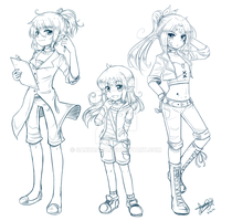 :Sketch Commission: Desari, Shira and Shion by SandraGH