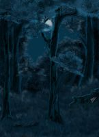 Night forest - speed painting by Pridipdiyoren
