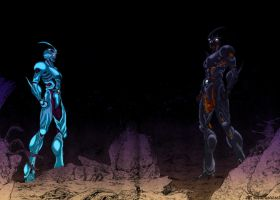 Guyver 1 and Guyver 3 Stand Off by unknownguyver81