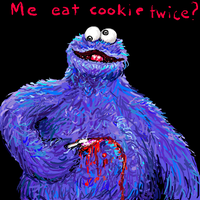 Cookie Monster cutting a circle by John032586