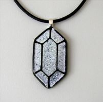 LoZ Silver Rupee Fused Glass by FusedElegance