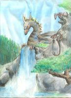 dragon on waterfall by BlueFrogBazar
