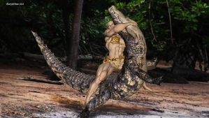 Jungle woman fights croco 10 by eurysthee