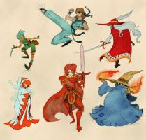 Final fantasy I classes by Evanatt