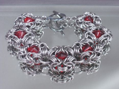 Red Chainmail Poppies Bracelet by Pharewings