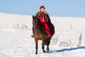 Medieval Landsknecht Woman on Horse by LuDa-Stock