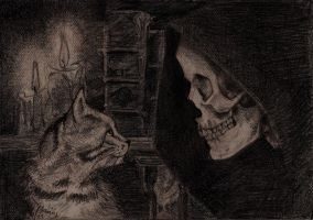 Death with kitten - Discworld by Wichrzyciel