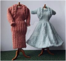 1:12th scale dresses and boleros c. 1950s by buttercupminiatures
