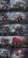 Fall of Cybertron Dinobots by DXCNRAI