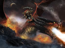Portfolo: Goblin ride a red dragon :D by shiprock
