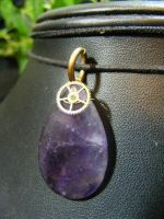 amethyst drop with gear by BacktoEarthCreations