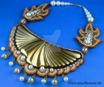 Cleo - Necklace, Beadembroidery, Bead Embroidery by Muriel-Leland