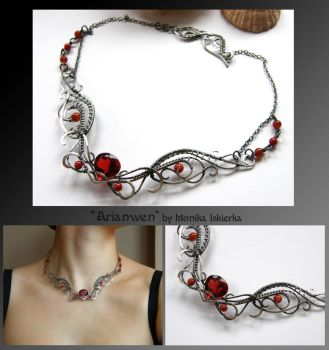 Rhiamon III- wire wrapped silver necklace by mea00
